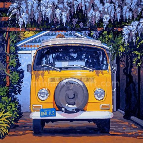 volkswagen bus painting vintage vw bus cer van print etsy art prints