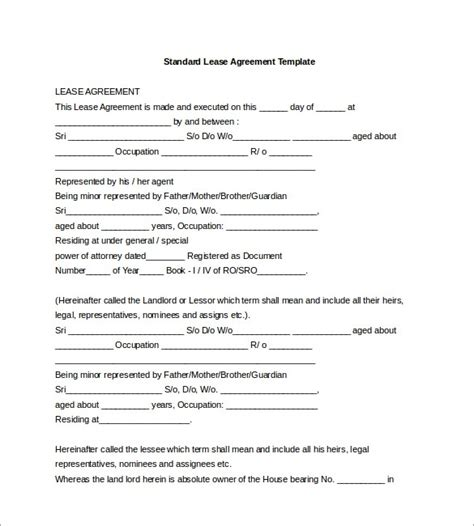 lease agreement template word 20 lease agreement templates word excel pdf formats