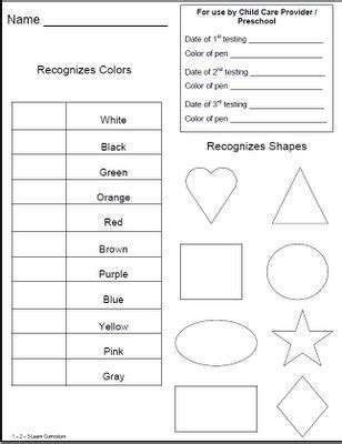 children preschool testing sheets located as a free