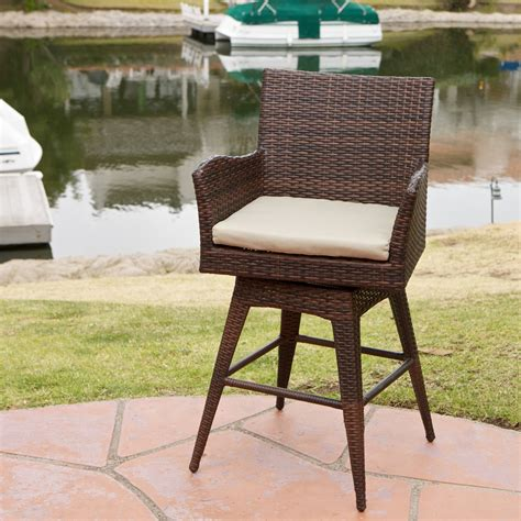 wicker bar stools with arms braxton pe wicker swivel stool with arms bar stools at