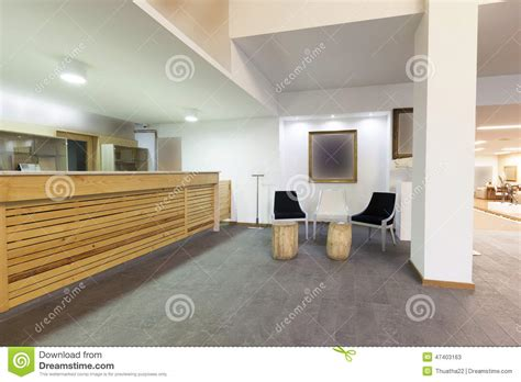 lobby reception desks spacious hotel lobby with reception desk stock image