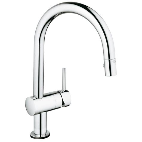 touch kitchen faucet grohe minta touch single handle pull sprayer kitchen faucet in starlight chrome 31359000