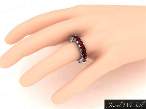 Ruby 8 55ct genuine 8 55ct princess ruby eternity wedding band ring