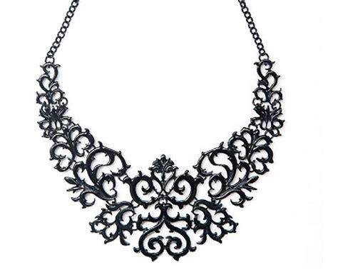 Black Collar Necklace black laser cut baroque statement necklace black bib