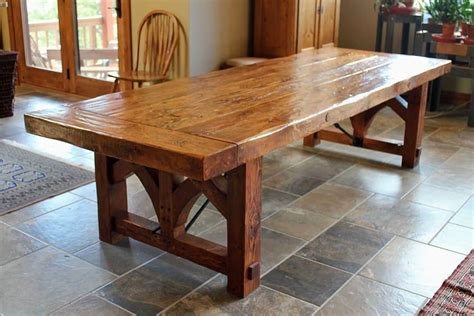 Large Kitchen Table With Bench Rustic Farmhouse Table In Rectangular Shape With Large Legs The Beautiful Antique Farmhouse