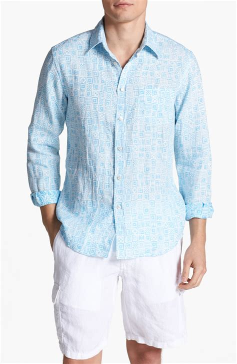 light blue linen lyst vilebrequin print linen shirt in blue for men