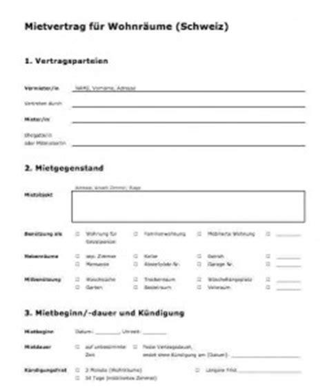 Kostenlose Vorlage Mietvertrag Vorlage Mietvertrag Schweiz Muster Und Vorlagen
