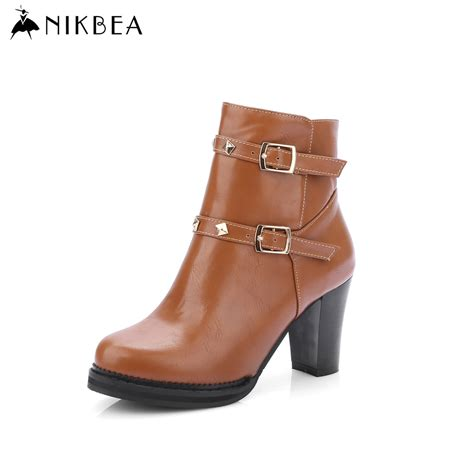 large size high heel shoes 2016 nikbea brand leather ankle boots large size winter