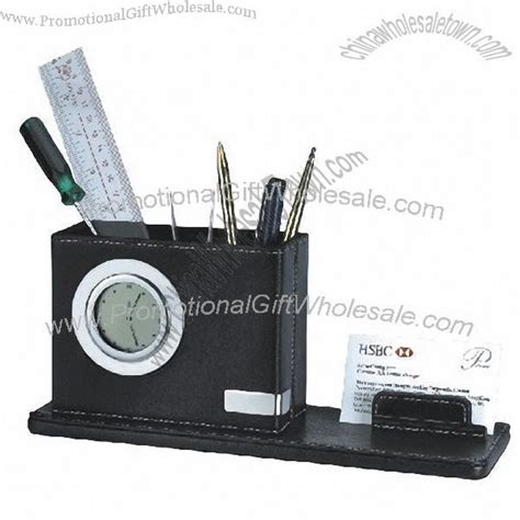Leather Lcd Penholder With Clock by Leather Penholder With Memo Pad Holder And Clock China