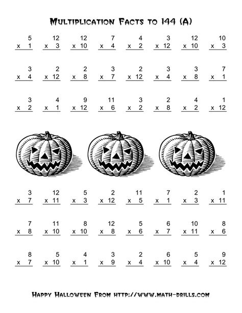 printable halloween multiplication worksheets all operations multiplication facts to 144 a