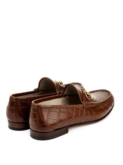 gucci loafers brown gucci crocodile horsebit loafers in brown for lyst