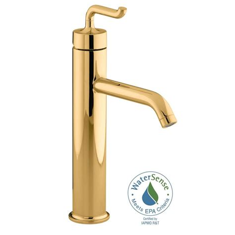 polished gold bathroom faucets kohler purist tall single hole single handle low arc