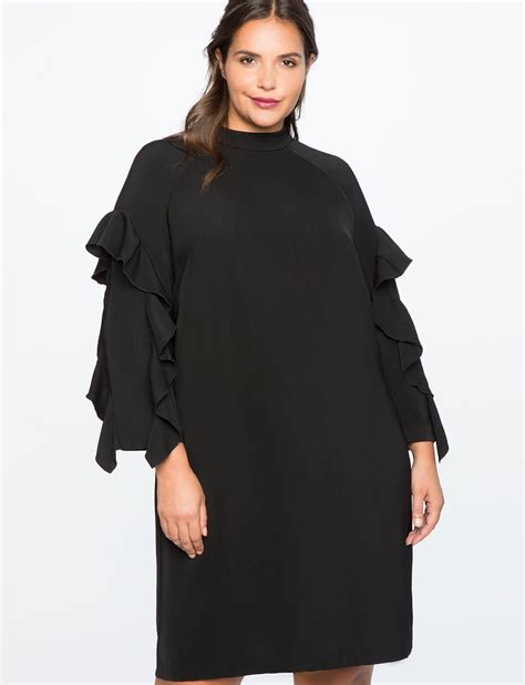 Mock Neck Sleeve Dress ruffle sleeve mock neck dress s plus size dresses