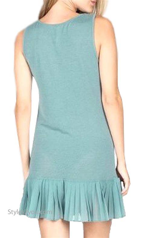 Mur 10 Blue brookwood shirt extender tank dress with pleated skirt blue m9710 mur monoreno clothing top