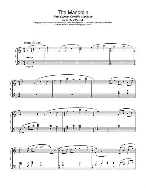 theme music captain corelli s mandolin sheet music for piano and mandolin the mandolin from
