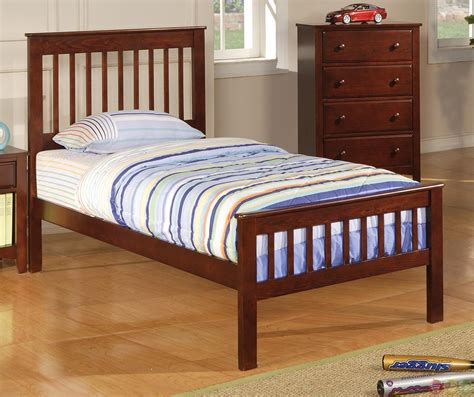 mission style brown cherry finish bedroom set