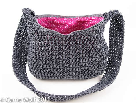Line Pattern Bag how to insert a zipper and line a crochet purse tutorial