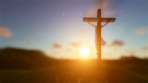 silhouette  jesus  cross  sunset blurry