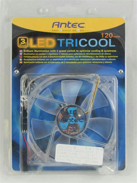 antec tricool 120mm fan antec tricool 120mm blue light led 3 speed fan for