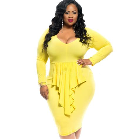 5 In 1 Yelow Size Xl Set Celana Dalam Mc plus size xl xxxl 2016 summer yellow dress v neck sleeve midi bodycon dress