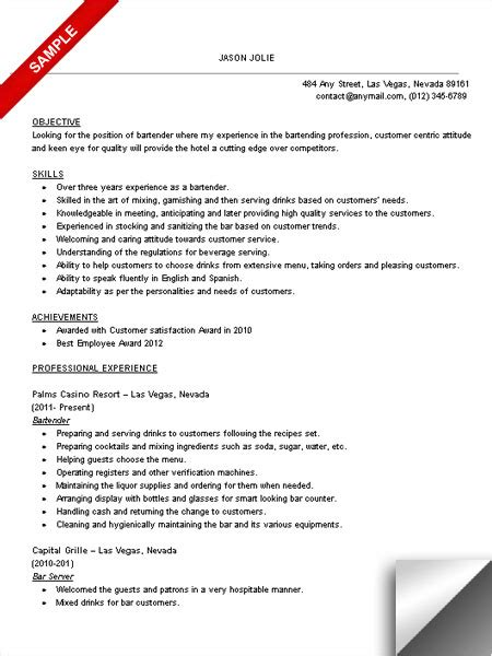 resume for bartender position descriptions exles of personification bartender resume sle