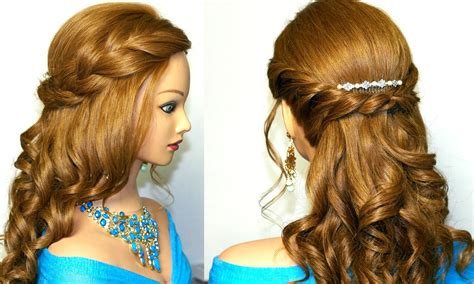 hairstyle for long hair for js prom curly prom hairstyle for medium long hair tutorial youtube