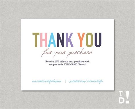 Kitchen Collection Printable Coupons business thank you cards template instant download