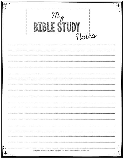Free Printable Bible Study Journal Pages