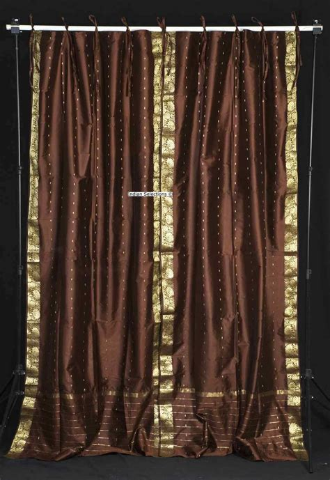 brown panel curtains brown tie top sheer sari curtain drape panel pair