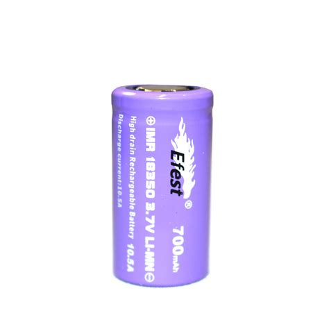 Efest Imr 18350 Battery 700mah 3 7v 10 5a With Flat Top genuine efest 18350 700mah 3 7v rechargeable 10 5a purple flat top battery the purest vapours