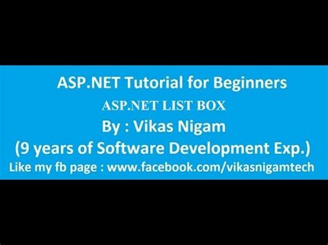 tutorial asp net for beginners asp net tutorial for beginners with list box vikas nigam