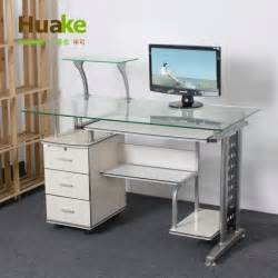 Small Study Desks Small 120 60 High 74cm Wide White Tempered Glass Computer Table Desk With Three Drawers