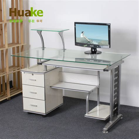 Glass Computer Desk With Drawers Small 120 60 High 74cm Wide White Tempered Glass Computer Table Desk With Three Drawers