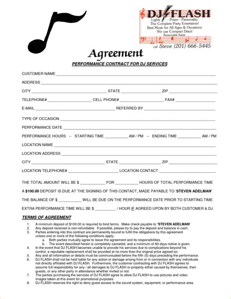 map pricing agreement template template dj contract template