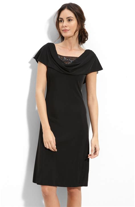 patra drape neck dress with beaded illusion mesh insets in