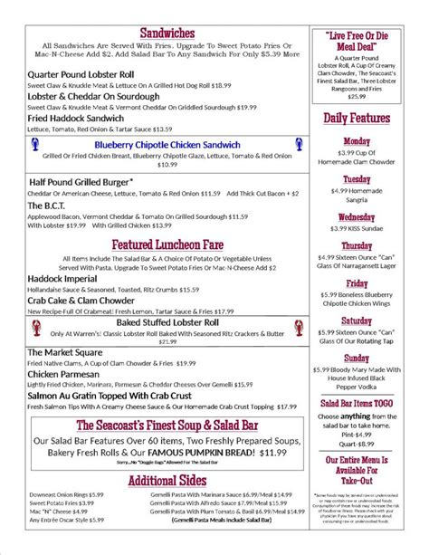 lobster house menu lunch bar menu warren s lobster house