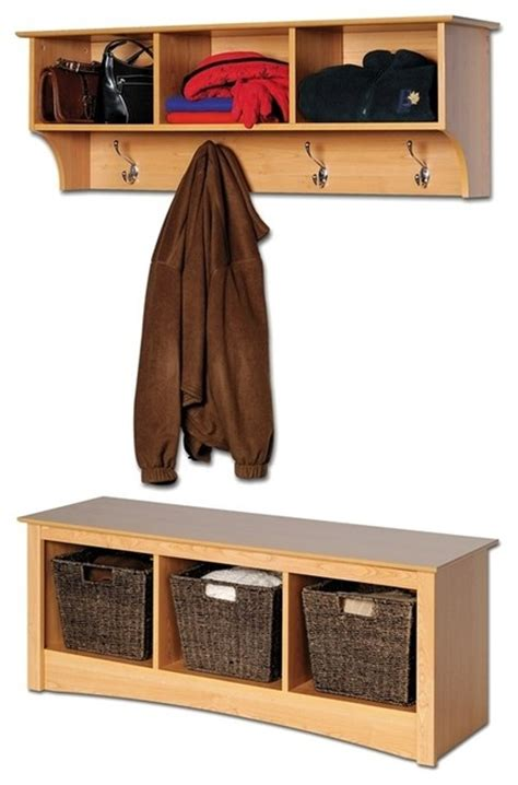 entryway wall mount coat rack w shoe storage