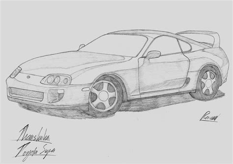 toyota supra drawing toyota supra drawing sketch coloring page