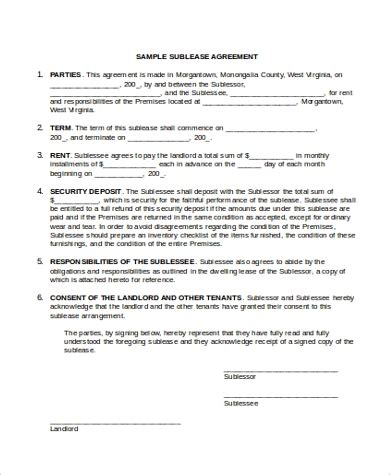 vehicle sublease agreement template sublease agreement form sle 9 free documents in word