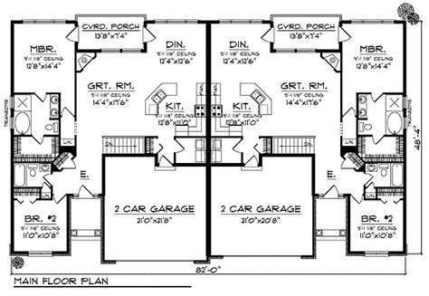 duplex floor plans with 2 car garage duplex home plan with european flair 89295ah 1st floor