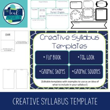 graphics design course syllabus creative syllabus templates by the teal paperclip tpt
