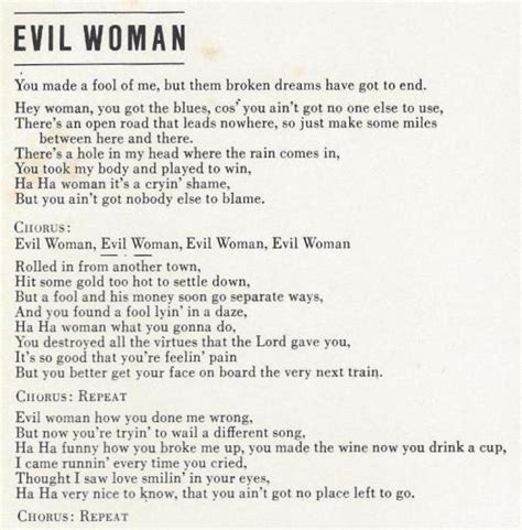 Jeff Lynne Song Database Electric Light Orchestra Evil