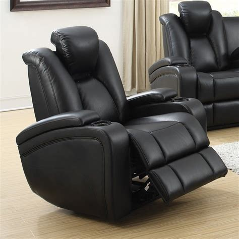 delange power reclining sofa coaster delange faux leather power recliner in black 601743p