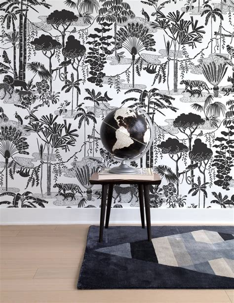 black and white jungle wallpaper jungle dream wallpaper in charcoal design by aimee wilder
