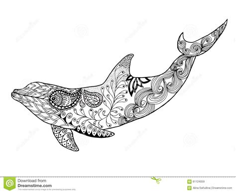 dolphin pattern drawing cute dolphin adult antistress coloring page stock