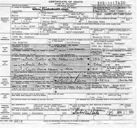 desi arnaz died lucille ball s death certificate cause of death was acute