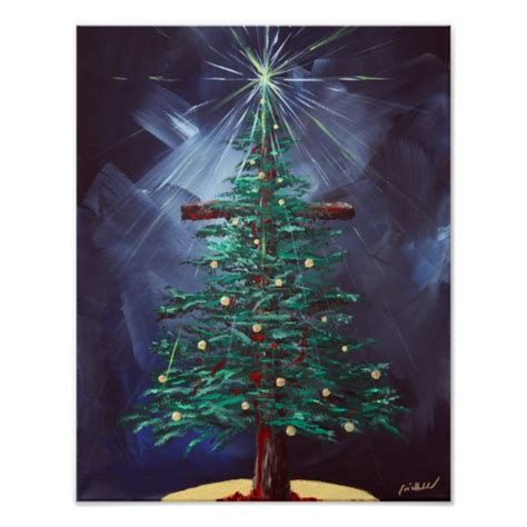 christmas cross christmas tree poster zazzle