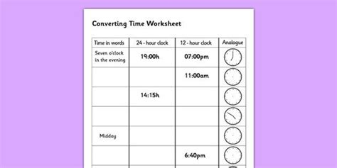 converting time worksheet converting time time