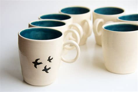 Handmade Mug Designs - bird mug in teal handmade ceramics by rosslab bird by rosslab