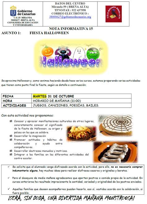 imagenes nota informativa nota informativa n 186 15 fiesta de halloween ceip miranda